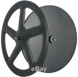 Front Five Spoke Rear Disc Wheels Track Bike Fixed Gear Carbon Wheelset 700C