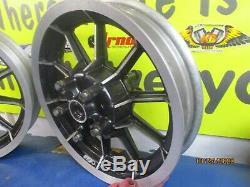 Front & Rear 10 Spoke 16 X 3 Mag Wheels Oem Harley Davidson 1999 Flt Models