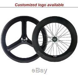 Front tri spoke rear 88mm Carbon Wheelset Track Bike Fixeg Gear Wheels 700C Bike