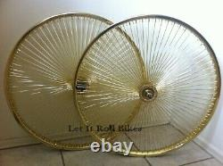 GOLD BICYCLE 26 STEEL WHEEL 144 SPOKES front OR rear CRUISER LOWRIDER BIKES
