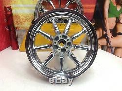 Genuine Harley16x3 CVO Touring Softail Dyna Rear & Front 9 spoke Wheels OEM