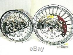 HARLEY CHROME 28 SPOKE FRONT & REAR WHEEL RIMS WithROTORS 09-18 OUTRIGHT SALE