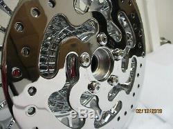 HARLEY CHROME KNUCKLE 28 SPOKE FRONT & REAR WHEEL RIMS WithROTORS10-17