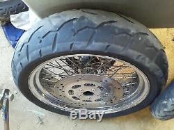 HARLEY EVO SOFTAIL DYNA CHOPPER 60 SPOKE 21 18 in chrome 180 WHEELS rims tires