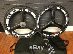HED 3 Front & HED H3D Deep Rear Tri Spoke Wheelset, 8/9/10/11 Speed, 11-28, 700c