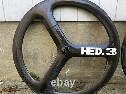 HED 3c Carbon Tri Spoke Tubular Wheel Set Front & Rear 700c TT Aero