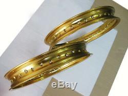 HONDA CR80 ALUMINIUM GOLD FRONT & REAR Wheel Rim Set 36 SPOKE HOLES #BI3687#