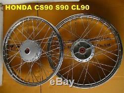 HONDA CS90 S90 CL90 S90Z FRONT & REAR WHEEL RIM+HUB+SPOKE SET mi4876