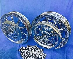 Harley 2007 Deluxe Chrome 9 Spoke Wheels Package Includes 25mm Front & 3/4 Rear