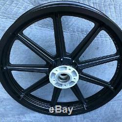 Harley 9 Spoke FXR XL FXD 16 19 Front Rear Mag Wheels Rims Powdercoated 86-99