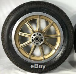 Harley 9 Spoke Mag Wheels Gold Sturgis Daytona Anniversary Sportster Dyna Fxr Hd