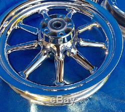 Harley Davidson Touring FLH CHROME 9 Spoke Wheels Package Deal 00 and up ULTRAs