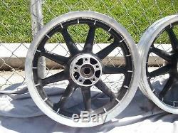 Harley Mag Set Front Rear Wheel Wagon 9 Spoke Touring OEM 16x3 Black