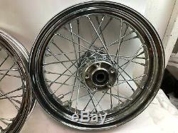 Harley chrome 16 front rear spoke wheels rims sealed bearing