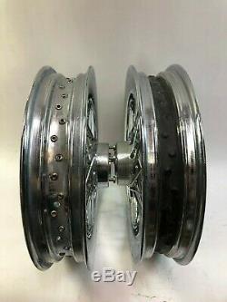 Harley chrome aluminum 16 spoke round profile front rear rims wheels