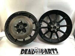 Harley gloss black flht flhr 16 10 spoke cast mag wheels front rear