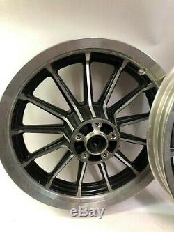 Harley nice black front rear 13 spoke ¾ Timken 16 19 mag wheels rims dyna fxd