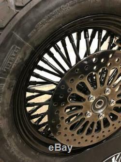 Killer All Black Mammoth Fat Spoke Fatboy 00-05 16 Front & Rear Wheel Package