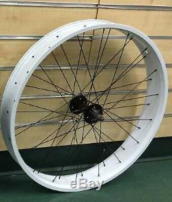 Micargi 26 x 4.0 Rear & Front Fat Bike Wheel 7 speed 36 spoke Disc Brake white