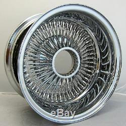 NB 13x7 REV 72 SPOKES WIRE WHEELS STRAIGHT LACE ALL CHROME RIMS (4pcs) LOWRIDER