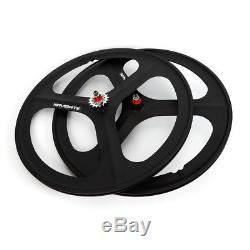 NEW Fixed Gear 700c Tri Spoke Rim Fixie Bike Wheel Set (Front & Rear) Black US