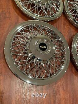 NEW SET OF 1970-1996 FITS IMPALA CAPRICE WIRE SPOKE 15 Hubcaps WHEELCOVERS