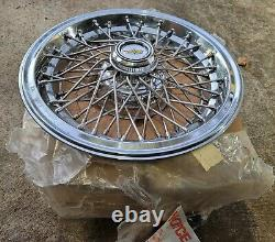 NOS Set of 4 OEM 1986-96 Chevy Caprice 15 Wire Spoke Hubcaps Wheel Covers Locks