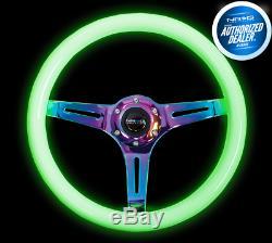 NRG Steering Wheel 350MM NEOCHROME Spoke Green Glow In The Dark Grip ST-015MC-GL