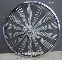 New 20 140 Fan spokes Front & Rear Coaster Wheels Beach Cruiser Chopper Chrome