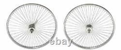New 24 Beach Cruiser Lowrider 72 spokes Rear & Front Bicycle Wheelset Chrome