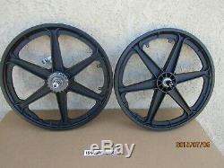 New Bicycle Six Spokes Mag Wheel Set, Black With Coaster Brake Pedal Brake