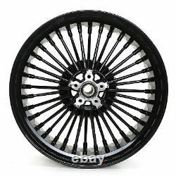 New Front Rear Cast Wheels Double Disc Fat King Spoke Softail Dyna 21 & 16 Black