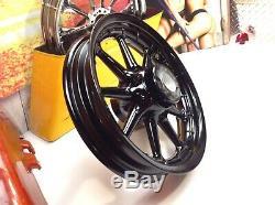 OEM 02-08 Harley Touring Factory Black 9 Spoke Front & Rear Wheels 16x3