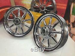 OEM Harley 16x3 CVO Softail Deluxe Heritage Chrome Front & Rear 9 spoke Wheels
