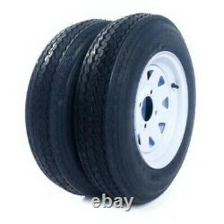 Pair 5.30-12 Trailer Tires & Rims 4Lug Wheel White Spoke 4Ply 840lbs 5.30 x 12