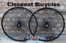 Pair of 26 Cruiser Lowrider Bicycle Dayton BLACK Wheels 144 Spokes Front & Rear