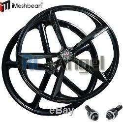 Premium 700c 5-Spoke Mag Rim Front Rear Single Speed Bicycle Wheel Set, Black