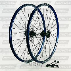 Pure XCR Blue 26 mountain bike wheel set, 26, Formula 6-Bolt Disc Black Spokes