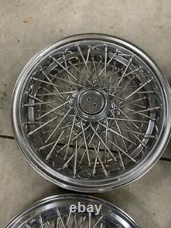 SET OF 1980-1996 FITS IMPALA CAPRICE WIRE SPOKE 15 Hubcaps WHEELCOVERS OEM