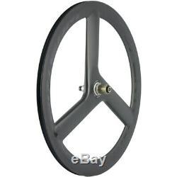 SUPERTEAM 56mm Tri Spoke Wheels Clincher Carbon Wheelset Road Bike 700C Wheels