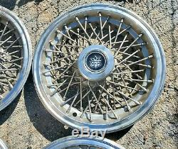 Set of 4 1980s Vintage Cadillac Hearse Limo 15 Wire Spoke Hubcaps Wheel Covers