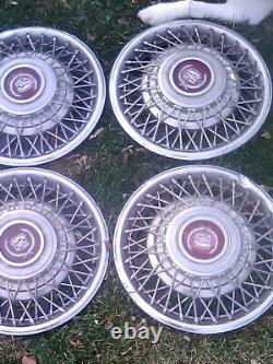 Set of 4 1981-1985 Cadillac Eldorado Seville 15 Wire Spoke Hubcaps Wheel Covers