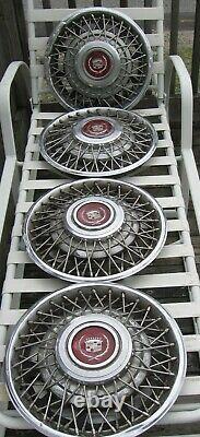 Set of 4 1981-85 Cadillac Eldorado Seville 15 Wire Spoke Hubcaps Wheel Covers