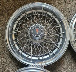 Set of 4 OEM Vintage Pontiac Safari Caprice 15 Wire Spoke Hubcaps Wheel Covers
