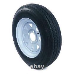 Set of Two Trailer Tires Tubeless 5.30 X 12 12 4 Lug Wheel White Spoke P811