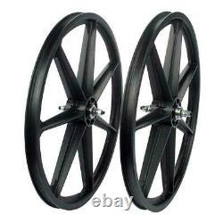 Skyway 24 old school BMX mag wheels wheelset freewheel 3/8' axle 7 spoke BLACK