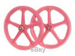 Skyway BMX 20 Wheelset Front Rear Tuff II Sealed Bearing 5 Spoke Pink