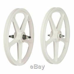 Skyway Tuff II 20 5 Spoke White Wheel Front and Rear 20''/406 Bolt-on F100 R