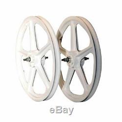 Skyway, Tuff II 20 5 Spoke White, Wheel, Front and Rear, 20'' / 406, Bolt-on, F