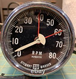 Stewart Warner Tachometer Tach 8000 8k Flathead SCTA Hot Rat Rod Camaro Impala